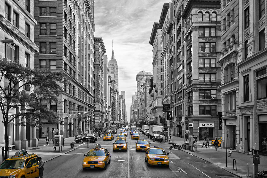 5th Avenue Yellow Cabs - Nyc Photograph by Melanie Viola - 5th Avenue Yellow Cabs - Nyc Fine Art Prints and Posters for Sale