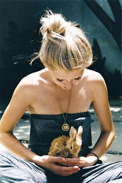 blonde, girl, cute, adorable, rabbit - inspiring picture on Favim.com
