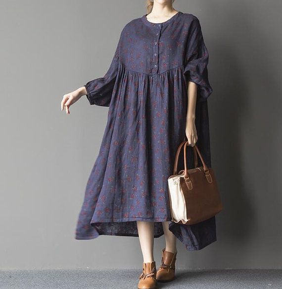 blue oversized loose long dress large size dresses by MaLieb