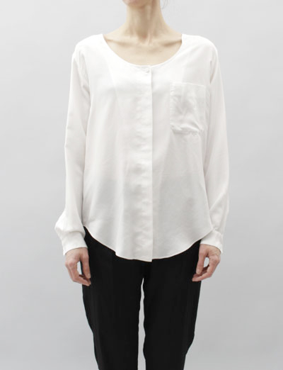 MM6 Silk Button Down Blouse- Milk