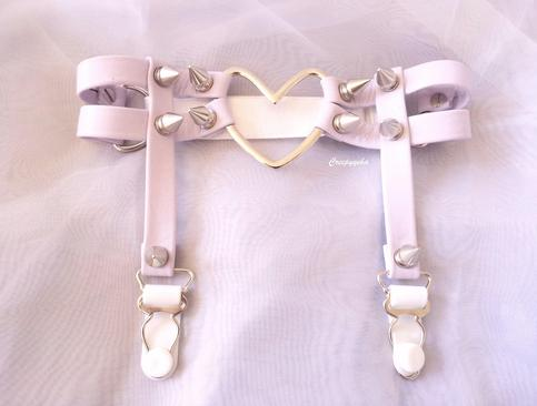 CREEPYYEHA | Lavender Double Strap Heart Garter | Online Store Powered by Storenvy