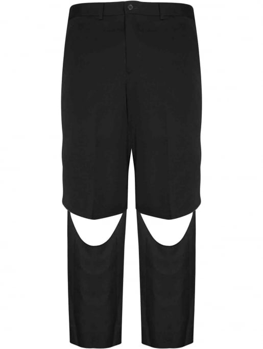 Comme des Garcons Homme Plus Black Raw Edge Cut Wool Trousers | HERVIA SS16 Menswear