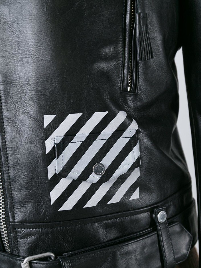 Off-white 斜めストライププリント ライダースジャケット - Twist'n'scout - Farfetch.com