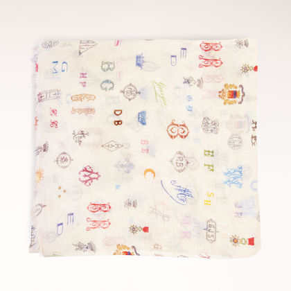 Silk Mix Monogram Print Scarf