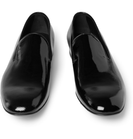 Yves Saint Laurent Textured Patent-Leather Loafers | MR PORTER