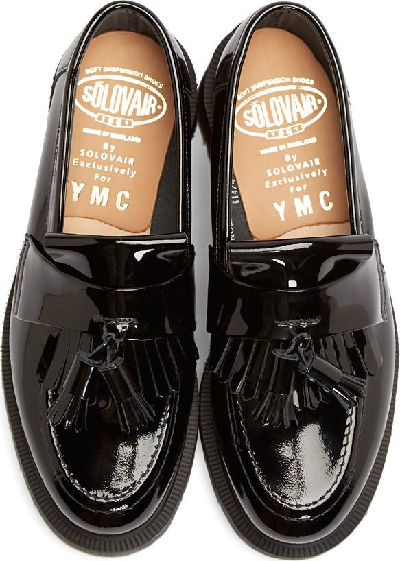 Ymc: Black Patent Leather Penny Loafers