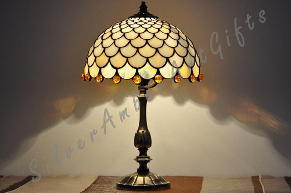 Stained glass table lamp Tiffany style desk lamp by AmberGlassArt