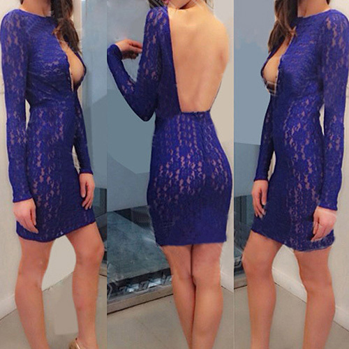 lulula-fashion shopping mall — [gzxy0600]Sexy Backless Long Sleeve Slim Fit Lace Party Dress