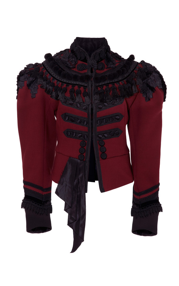 Burgundy Lightweight Wool Military Jacket With Passementerie Trim by Marc Jacobs for Preorder on Moda Operandi