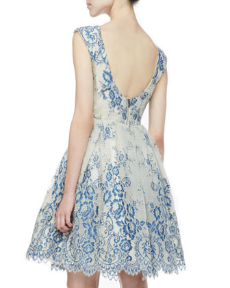 Alice + Olivia Fila Lace-Overlay Party Dress - Neiman Marcus