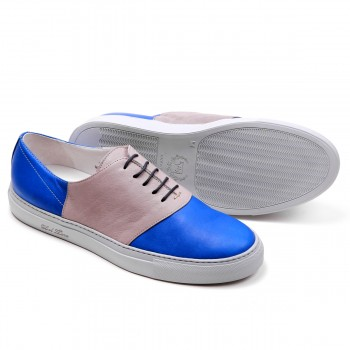 Men's Cobalt Blue and Grey Nappa Leather Basso Chukka Saddle Sneaker - Sneaker - Men's