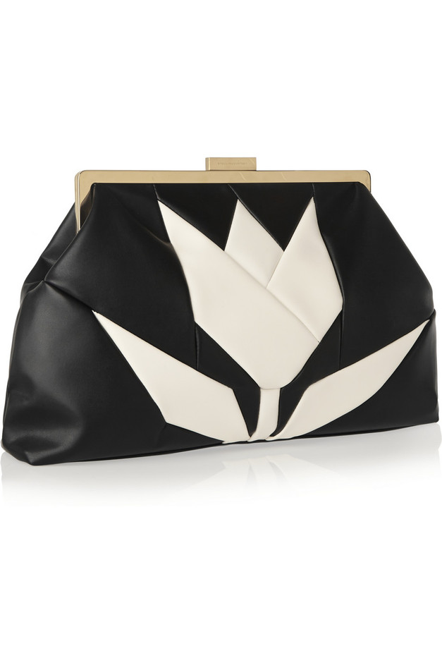 Stella McCartney | Two-tone faux leather clutch | NET-A-PORTER.COM
