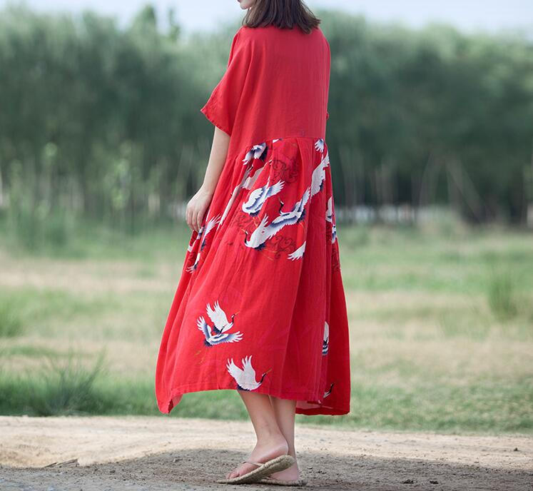 Black/ red Loose Oversize Dress/ Summer Cotton and linen