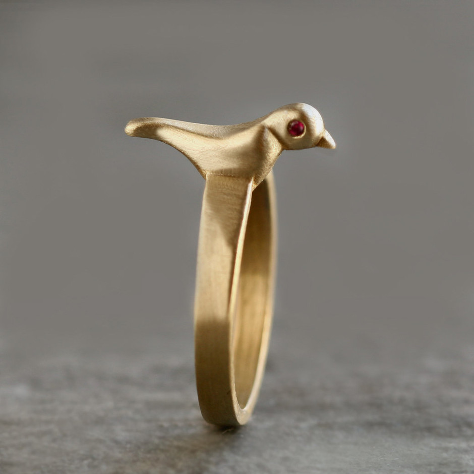 Bird Ring in Brass with Rubies by MichelleChangJewelry on Etsy
