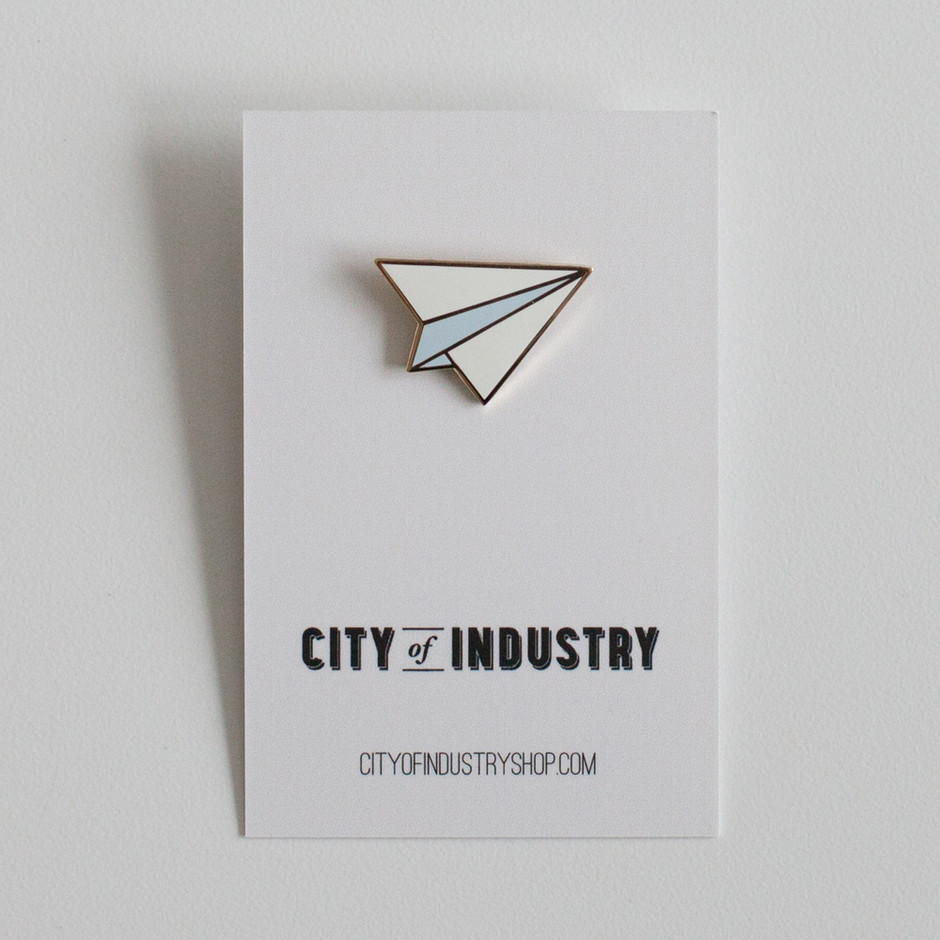Enamel Paper Airplane Pin / City of Industry
