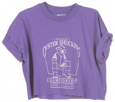 Rokit Recycled Purple Oyster Shucking Championship Cropped T-Shirt - Vintage clothing from Rokit - cropped t-shirt, cropped t, crop top, belly top, tshirt