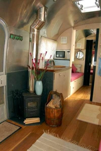 Airstream camper...with wood stove! | Camper Ideas