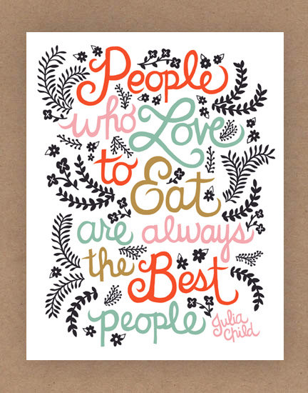 11x14in Julia Child Quote Illustration by unraveleddesign on Etsy