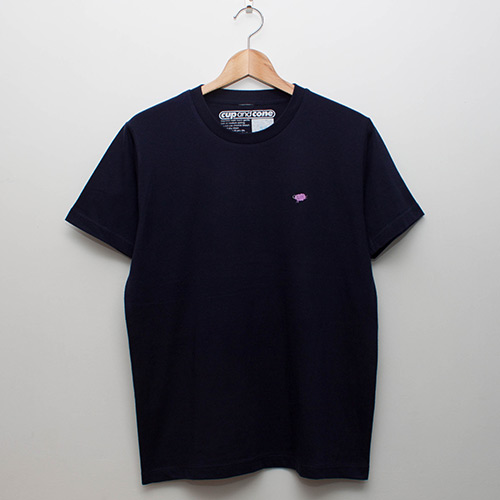 Embroidery Tee - Navy x Grape - cup and cone WEB STORE