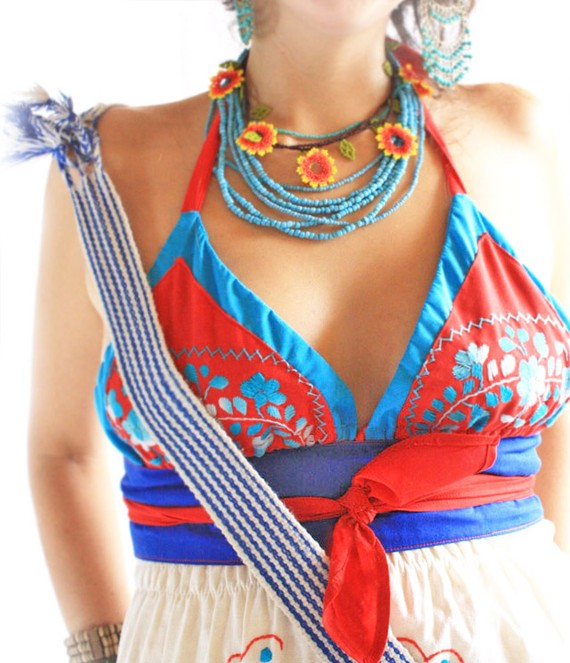 Coral Reef Mexican embroidered top bohemian hippie by AidaCoronado