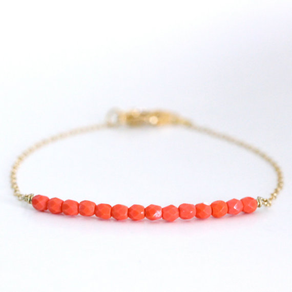 Beaded Bar Bracelet Coral by ayofemijewelry on Etsy