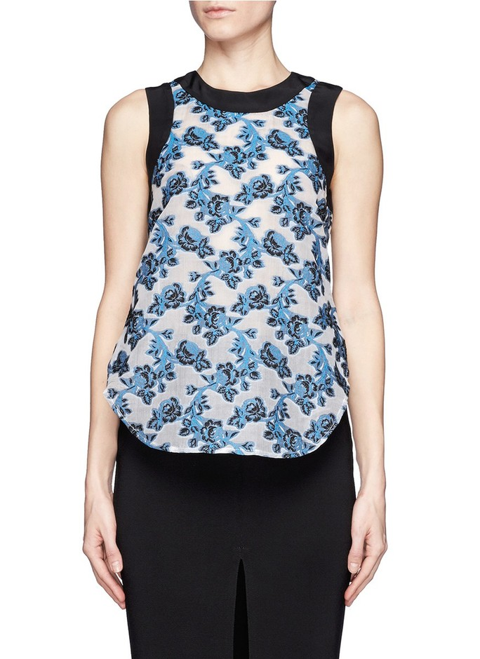 PRABAL GURUNG - Contrast piping rose embroidery top | Multi-colour Vests/Tanks Tops | Womenswear | Lane Crawford