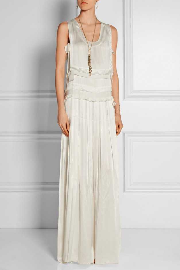 Lanvin | Tiered satin column gown | NET-A-PORTER.COM