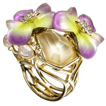 Ophelia Gold Jeweled Pansy Ring::View All::Sale::Alexis Bittar