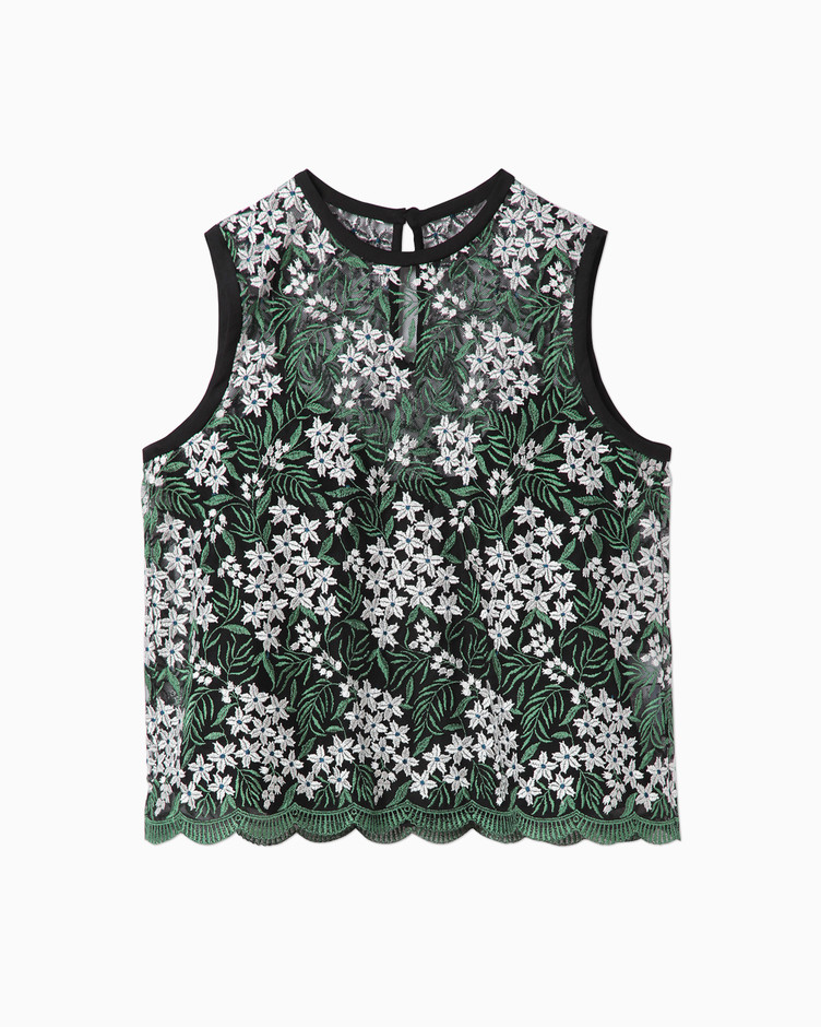 Tulle Embroidery & Scala Tops - green | mame