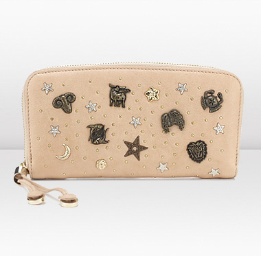 Jimmy Choo | Filipa | Calf Leather with Zodiac and Star Studs Wallet | JIMMYCHOO.COM