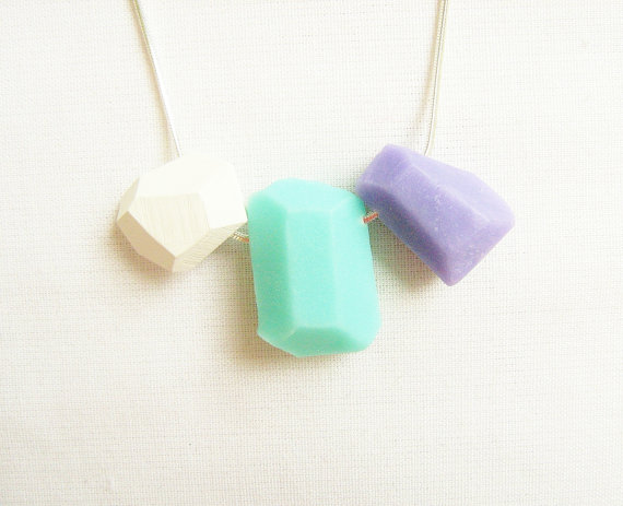Pastel Geo Necklace in Mint Soft Lilac and White by AlinaandT