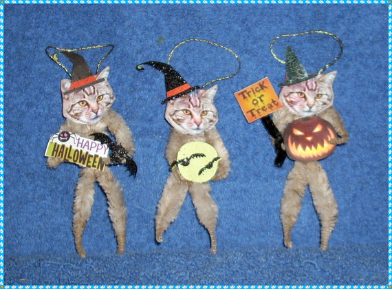 Vintage Style Halloween Chenille Ornaments Cats by llister on Etsy