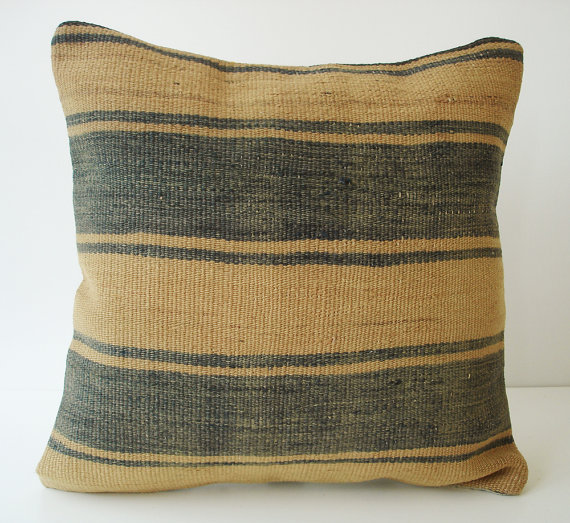 Sukan / SOFT Hand Woven Turkish Striped Kilim Pillow by sukan
