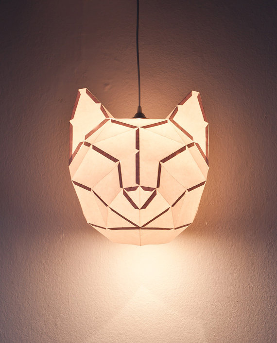 Cat Large do it yourself paper lampshade by DONKEYANDFRIENDS