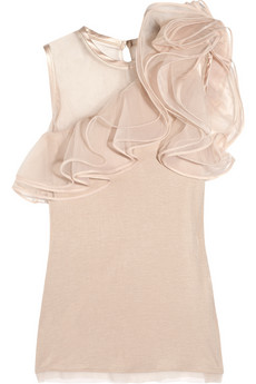 Valentino | Jersey and ruffled tulle top | NET-A-PORTER.COM