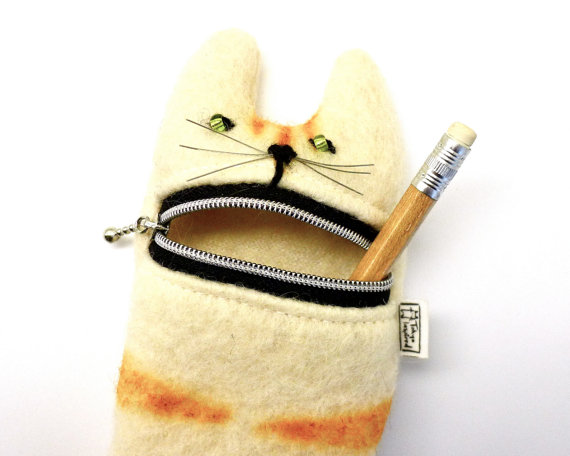 Pencil case Eyeglass case Cute hungry cat pencil by Tokyoinspired