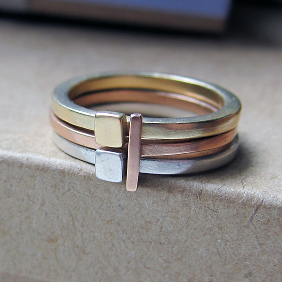 14k gold stack ring set yellow pink and sterling by metalicious