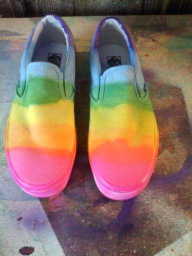 Neon Rainbow Vans Slipon shoes by coleydinosaur on Etsy