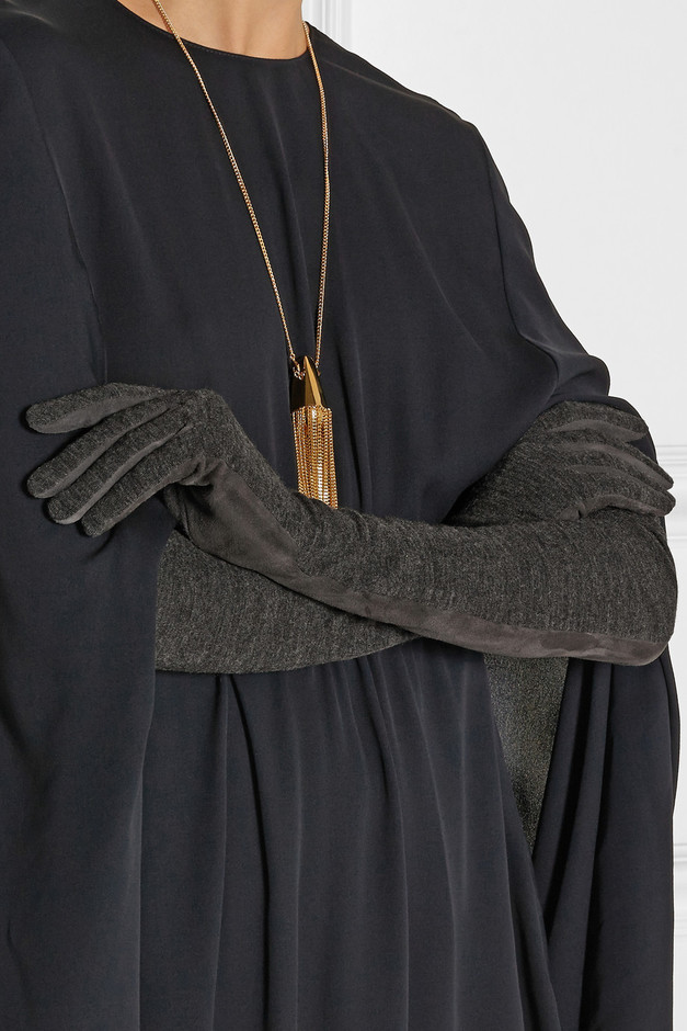 Lanvin Paneled suede and jersey gloves NET-A-PORTER.COM
