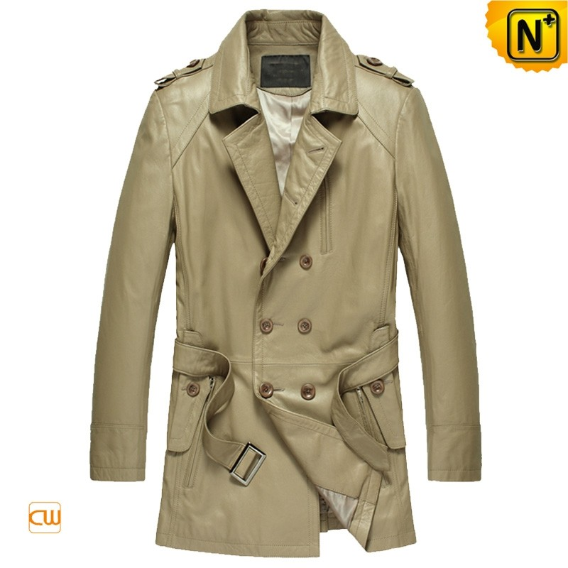 Mens Italian Leather Trench Coat CW850811