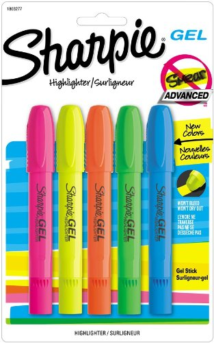 Amazon.com: Sharpie Accent Gel Highlighters, 5 Colored Highlighters (1803277): Office Products