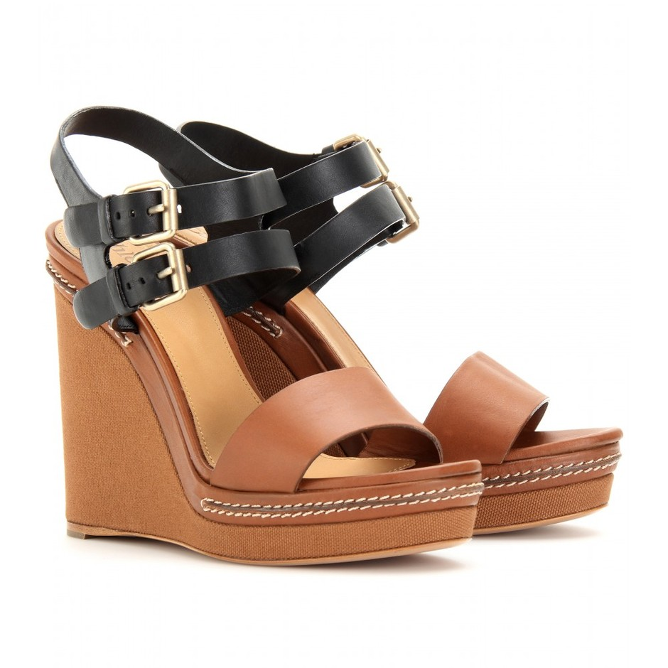 mytheresa.com - Chloé - LEATHER AND CANVAS WEDGES - Luxury Fashion for Women / Designer clothing, shoes, bags