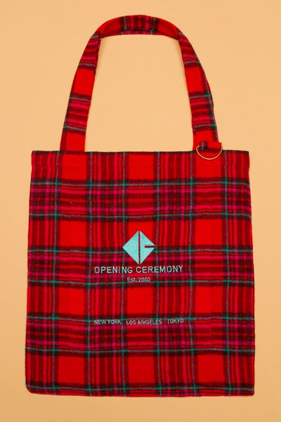 OPENING CEREMONY PLAID FLANNEL OC TOTE - UA30 - WOMEN - BAGS - OPENING CEREMONY - OPENING CEREMONY