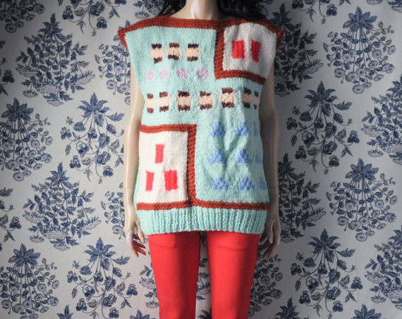 hand knit graphic print sweater / dolman slv by persephonevintage