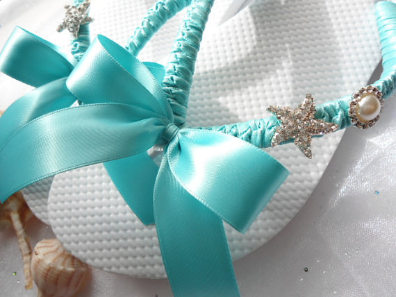 Blue wedding shoes Tiffany blue flip flops by AdrianaDosSantos