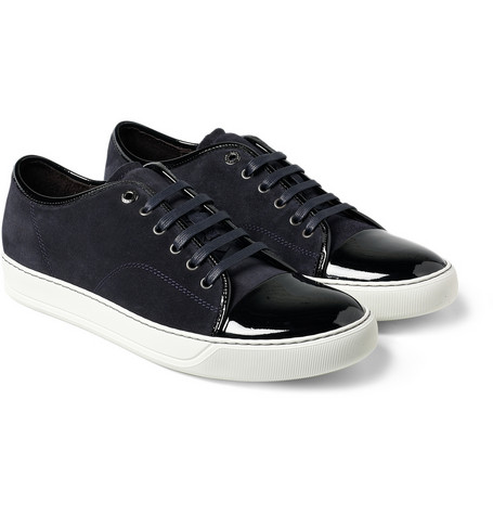 Lanvin?Suede and Patent Leather Sneakers?|?MR PORTER