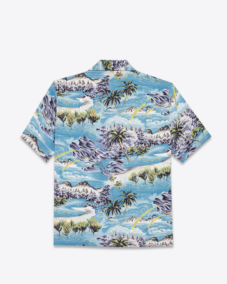 Saint Laurent Short Sleeve Hawaiian Shirt In Multicolor Hawaiian Printed Viscose | YSL.com