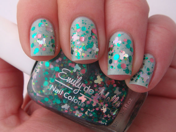 Nail polish Flutterby Garden pink and green by EmilydeMolly