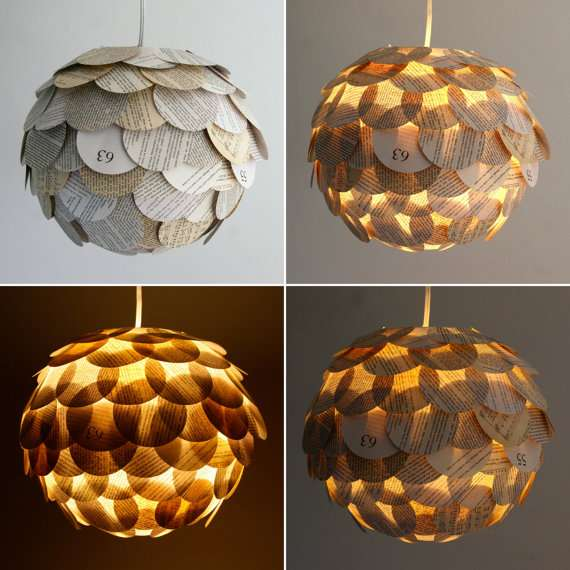 Literature-Shingled Lamps - The Zipper 8 Lighting Collection Covers Bulbs with Book Contents (GALLERY)