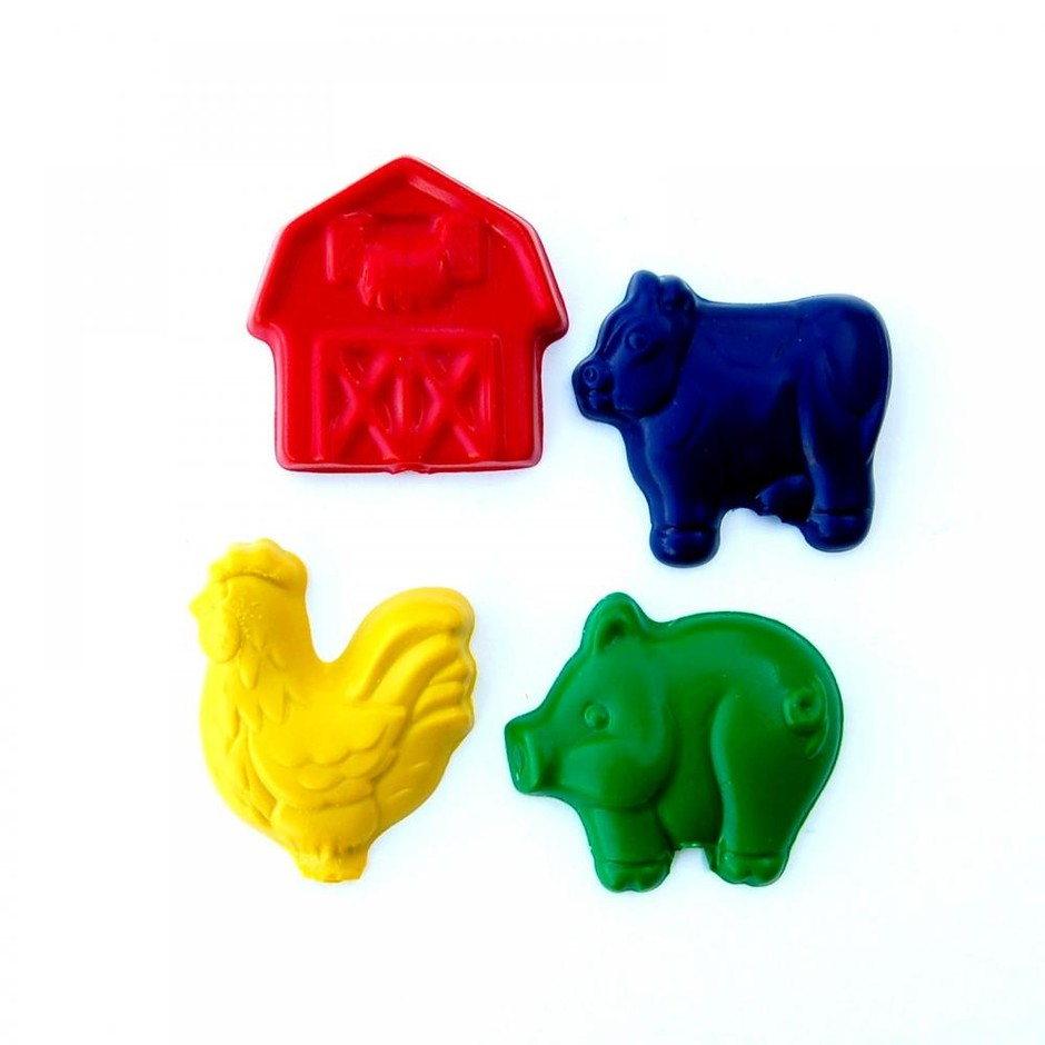 Farm Party Favors - Package Of 12 Farm Animal Barn Shaped Crayons on Luulla